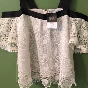 Topshop White Lace Drop Sleeve Top. NWT Sz 4